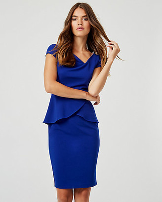 Le Château Knit Crepe Asymmetrical Neck Peplum Dress
