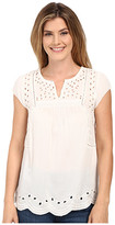 Lucky Brand Cut Out Embroidered Top