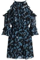 Rachel Zoe Cold-Shoulder Ruffle-Trimmed Silk-Chiffon Mini Dress