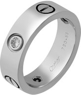 Cartier Estate 18k White Gold 3-Diamond Love Ring, Size 6