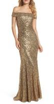 Badgley Mischka Women's Sequin Off The Shoulder Mermaid Gown