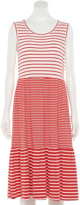 Nina Leonard Women's Striped Tiered Dress