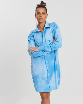 Missguided Tie-Dye Jersey Shirt Dress
