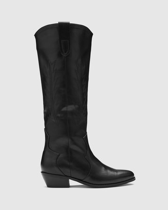 Therapy Women's Black Long Boots - Bonnie - Size One Size, 7 at The Iconic