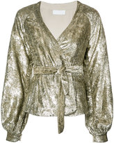 Co metallic waist-tie blouse