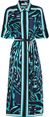 Diane von Furstenberg Sogol Belted Printed Crepe De Chine Midi Shirt Dress