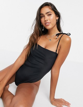 Y.A.S swimsuit with square neck and detachable tie straps in black
