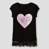 """Miss Chievous Girls' Short Sleeve Tank with Lace Trim & Sequin """"I Scream"""" Applique - Black"""