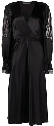 Alberta Ferretti lace panel V-neck silk dress