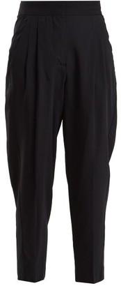 Summa - Pleat-detail Wool-blend Cropped Trousers - Navy