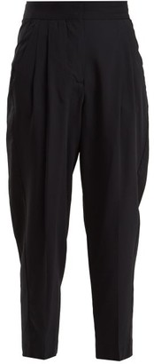 Summa - Pleat-detail Wool-blend Cropped Trousers - Womens - Navy