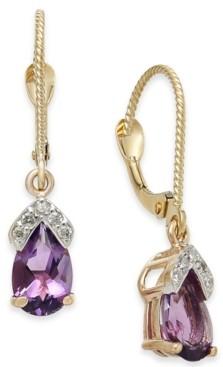 Macy's Amethyst (1-5/8 ct. t.w.) & Diamond Drop Earrings in 14k Rose Gold