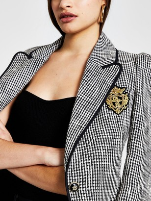 River Island Badge Detail Boucle Blazer - Black/white