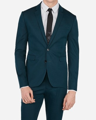 Express Extra Slim Teal Stretch Cotton Blend Suit Jacket