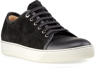 Lanvin Men's Suede/Leather Low-Top Sneakers