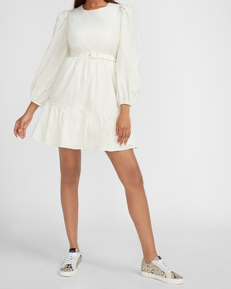 Express Belted Puff Sleeve Dress