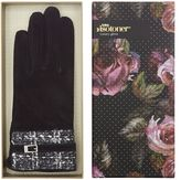 Isotoner Suede Glove with Woven Cuff Boxed