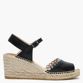 Kanna Black Leather Grommet Embellished Wedge Espadrilles