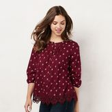 Lauren Conrad Women's Lace Peasant Top