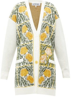 Loewe Flower-jacquard Wool-blend Cardigan - White Print