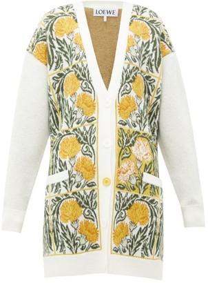 Loewe Flower-jacquard Wool-blend Cardigan - Womens - White Print