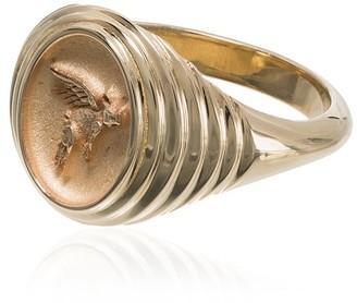 Retrouvaí metallic flying pig 14K gold baby signet ring