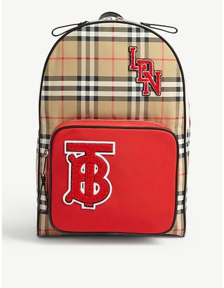 Burberry Kids monogram checked nylon backpack