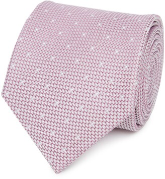 Reiss Liam - Silk Polka Dot Tie in Dusky Pink