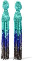 Oscar de la Renta Ombré Beaded Clip Earrings - Blue