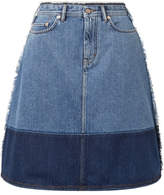 Acne Studios Halona Two-tone Denim Skirt - Mid denim