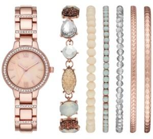 Folio Women's Rose Gold-Tone Bracelet Watch 30mm Box Set