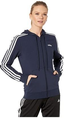 adidas Essential 3-Stripes Full Zip Hoodie (Legend Ink/White) Women's Sweatshirt