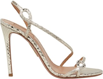 Aquazzura Serpentine 105 Embossed Metallic Sandals