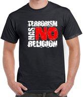 StarlightClothing Starlite~Mens Novelty Slogans tshirtsTerrorism Has No Religion tshirt