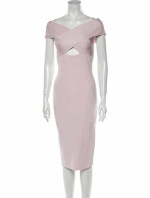 Cushnie Off-The-Shoulder Midi Length Dress Pink