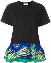 Emilio Pucci ruffled printed hem T-shirt - women - Silk/Cotton - M
