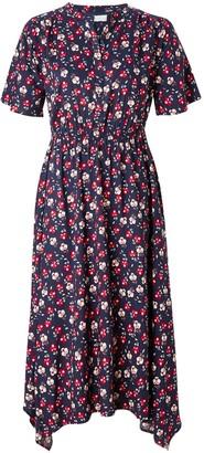 Collection WEEKEND by John Lewis Floral Handkerchief Hem Midi Dress, Navy Base