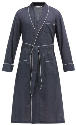 Derek Rose Plaza Polka-dot Cotton Robe - Navy