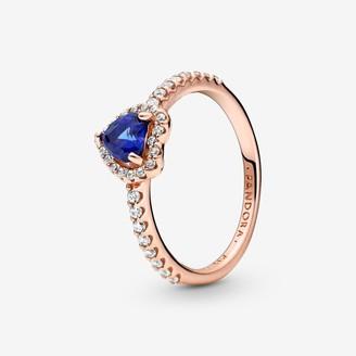 Pandora Sparkling Blue Elevated Heart Ring