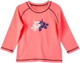 Pink Platinum Girls' Rashguards SOFT - Soft Coral & Blue Floral Long-Sleeve Rashguard - Girls