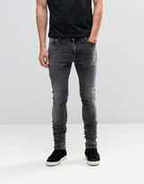 Asos Skinny Longline Stacker Jeans In Marble Wash In Black