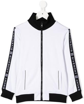 Givenchy Kids Zip Up Logo Trim Sports Jacket
