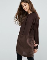 Vila Mixed Fabric Collarless Tunic