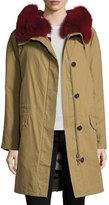Yves Salomon Classic Parka Coat w/Reversible Camo Fur Lining, Multi