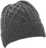 Ombre - Cable Knit Turn Up Beanie Hat
