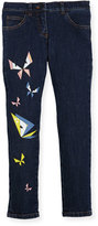 Fendi Girls' Butterfly Eyes Denim Pants, Size 10-14
