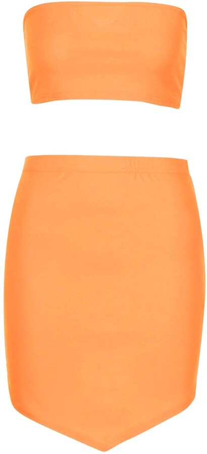 Thumbnail for your product : boohoo Bandeau Top And Asymetric Mini Skirt Co-ord