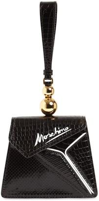 Moschino PRINTED LEATHER TOP HANDLE BAG