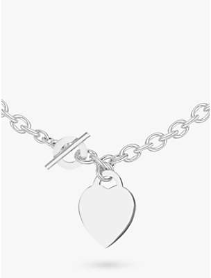 IBB Personalised Sterling Silver Heart Link Necklace, Silver