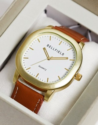 Bellfield square watch in brown